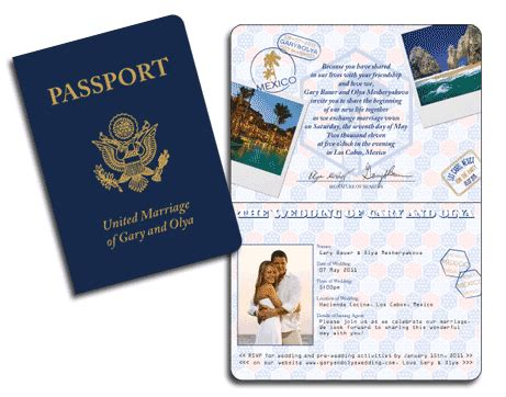 passport wedding invitations template realistic usa passport invitation