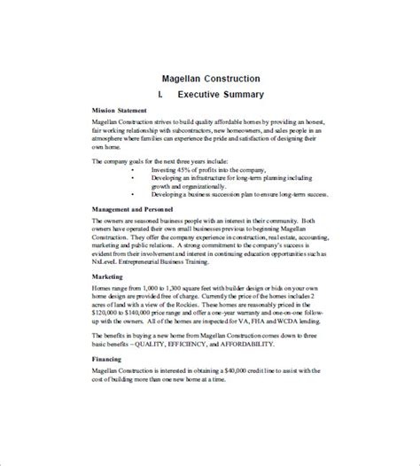 Business Plan Construction Company Template Construction Business Plan Template 12 Free Word Excel Pdf Format Download Free Premium