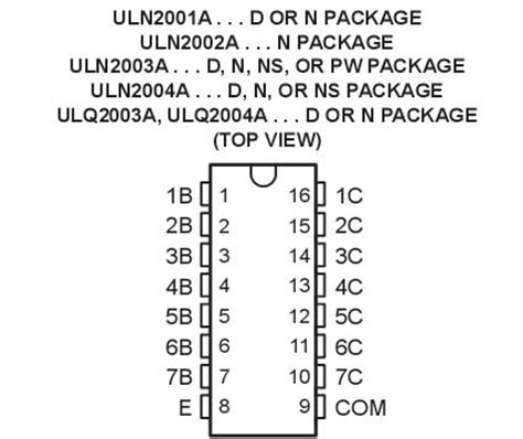 transistor uln2003a datasheet uln2003a us 19 35 stmicroelectronics uln2003a datasheet circuit diagram from
