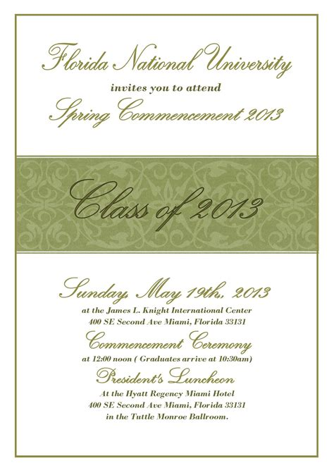graduation ceremony invitation template commencement ceremony invitation florida national