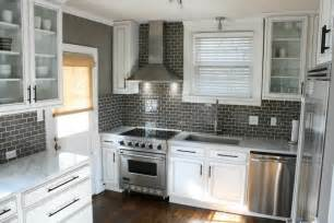 Gray Backsplash Kitchen by Gray Subway Tile Backsplash Design Ideas