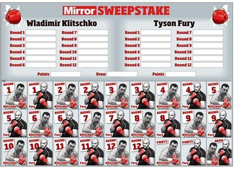 Sweepstake Kit - tyson fury claims god wants him to beat wladimir klitschko in title showdown quot it s my