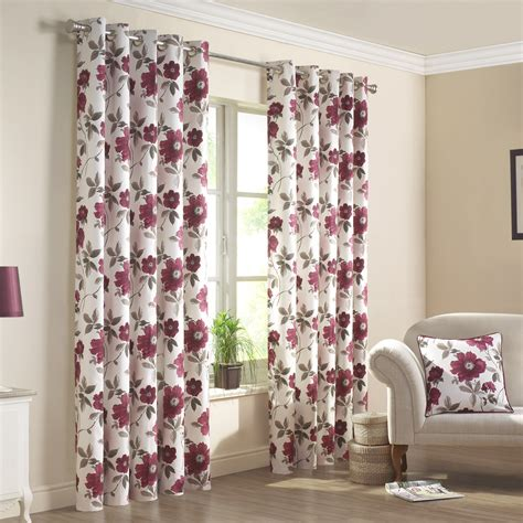 red floral drapes renoir red floral printed lined eyelet curtains pair