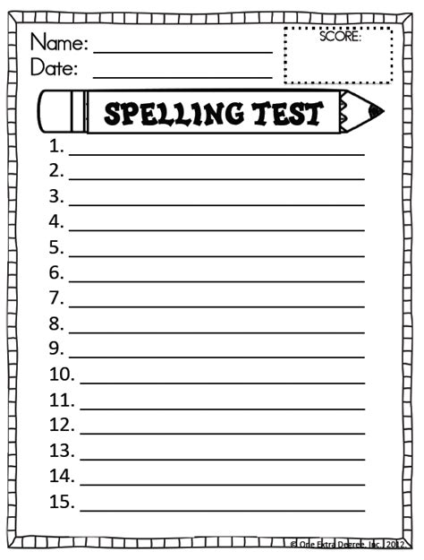 Spelling Test Template 10 Words by Free Spelling Test Template One Degree
