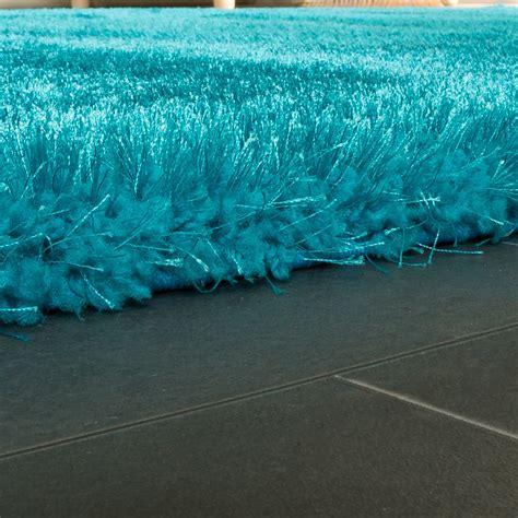 shaggy teppich edler teppich shaggy einfarbig t 252 rkis hochflor teppiche