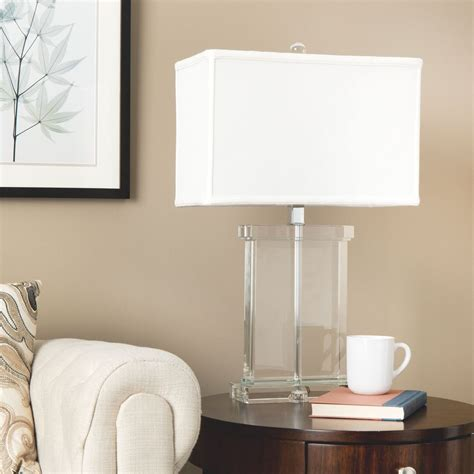 modern table lamp white fabric shade crystal base accent living room bedroom  ebay