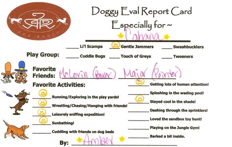 pet boarding report card template ours for a year day care