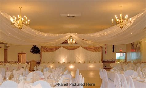 wedding ceiling draping kits 4 panel sheer voile 21ft ceiling draping kit 44 feet wide