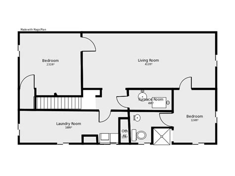 floor plan with basement basement floor plan flip flop stairs and furnace room