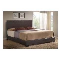 king size brown leather bed frame set w headboard