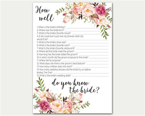 how well do you the bridal shower printable how well do you the bridal shower bridal