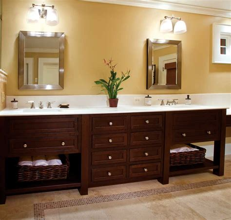 wooden custom bathroom vanity cabinets white granite top