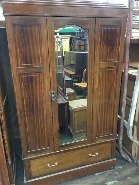 wardrobe armoire with mirror antique inlaid mahogany english wardrobe armoire with