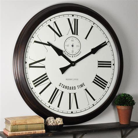 oversized wall clock firstime 29 in brown oversized heritage wood wall clock 31015 the home depot