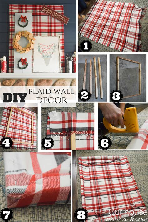plaid home decor layering block perfect for layering and holiday handmade decorating a fireplace mantel with