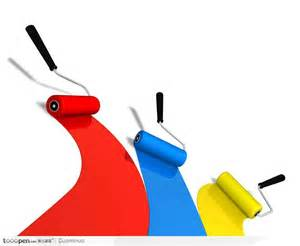 house painter and decorator 沾着红黄蓝三种颜色的油漆滚筒刷刷出三色道 素材公社 tooopen com