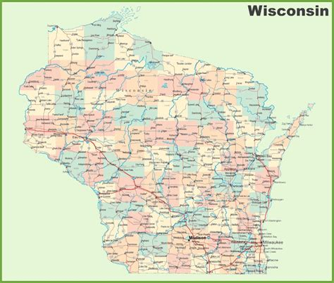 wisconsin on us map map of wisconsin state map of usa united states maps