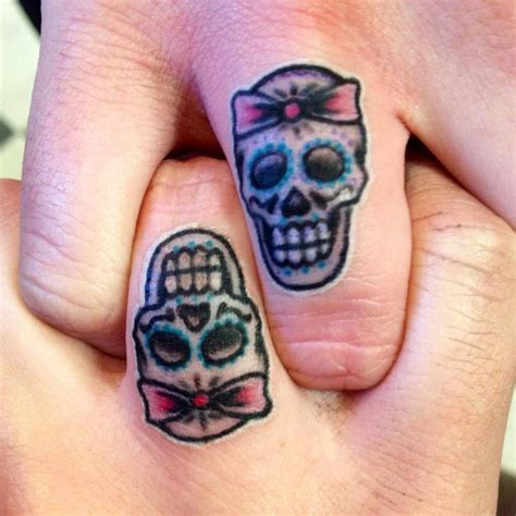 matching skull tattoos matching sugar skull finger tattoos clear custom