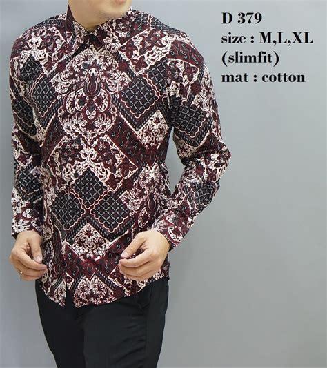 jual batik slim fit baju pria lengan panjang kemeja pria