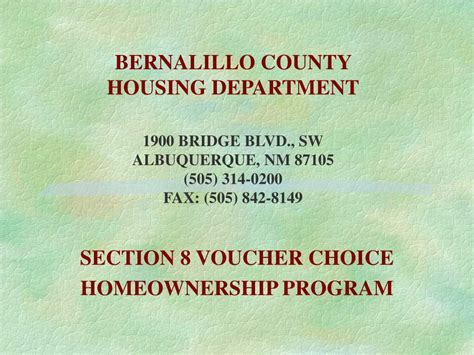 section 8 homeownership ppt bernalillo county housing department 1900 bridge