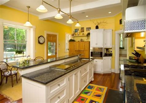 Yellow Kitchen With White Cabinets Ikea Granite Countertops Colors Captainwalt