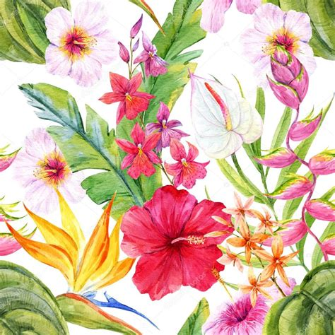 watercolor tropical pattern watercolor tropical floral pattern stock photo