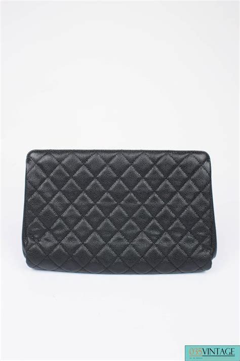 Chanel Quilted Clutch Bag by Chanel Quilted Caviar Jumbo Cc Clutch Bag Black Leather