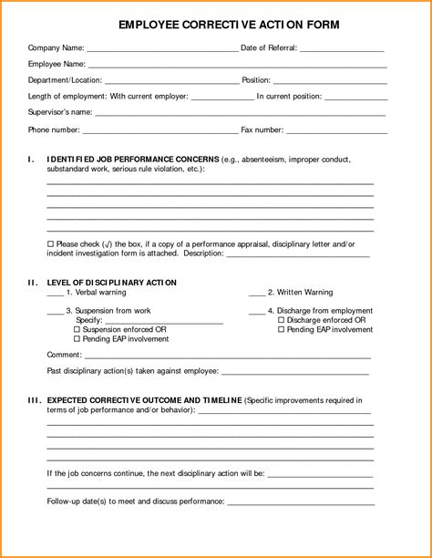 Luxury Employee Form Template Aguakatedigital Templates Aguakatedigital Templates Corrective Form Template
