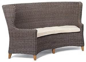vintage curved banquette bench with cushion patio