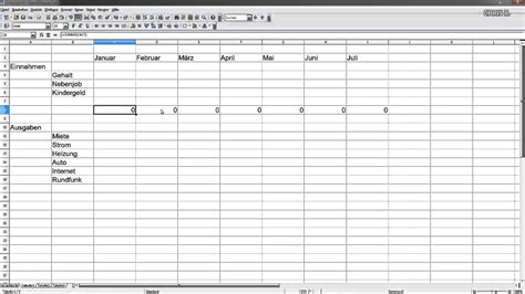 haushaltsbuch mit excel oder open office calc youtube