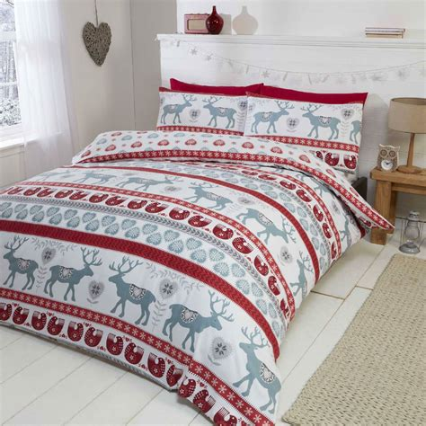 christmas bedding sets stag deer winter christmas duvet quilt cover bedding set