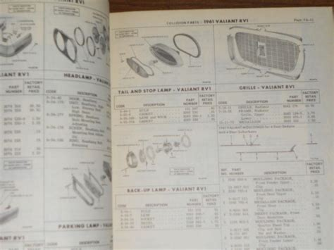 chrysler original parts sell 1961 chrysler plymouth dodge collision parts catalog