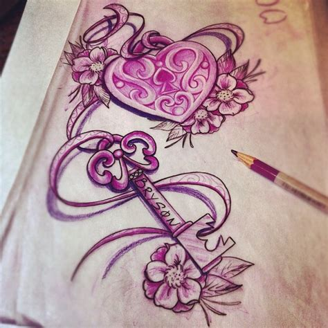 lock n key tattoo designs lock and key with banner 187 ideas