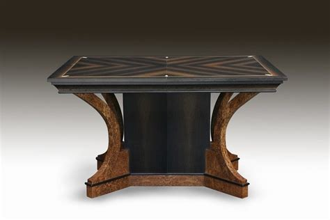 hand crafted art deco bog oak  ivory dining table