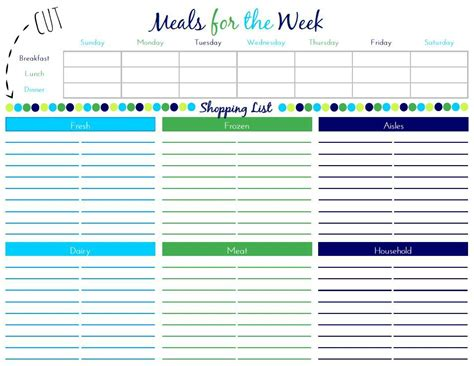 Meal Plan With Grocery List Grocery List Template Meal Planning Template With Grocery List
