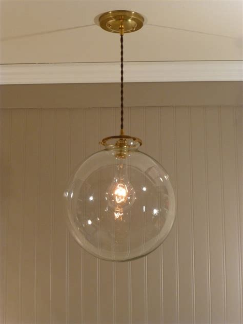 Clear Globe Pendant Light Brass Pendant Light With A 12 Inch Clear Glass Globe 128 00 Via Etsy For The Home