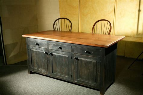 crafted rustic barn wood kitchen island by