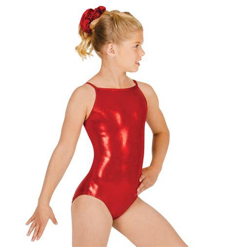 young girls in leotards basic metallic camisole leotard gymnastics