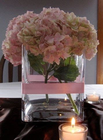 Round Pink hydrangea blossom in square vase with single