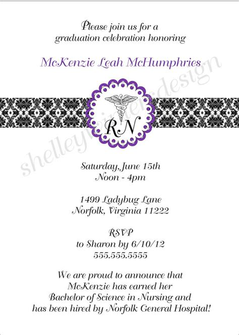 nursing graduation invitation templates items similar to graduation pinning ceremony