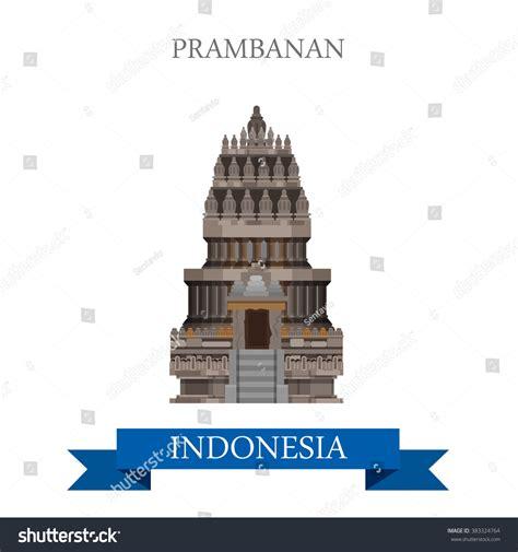 grand design hindu indonesia prambanan hindu temple indonesia flat cartoon stock vector