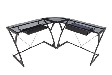 Glass Desk With Storage by Modern L Shaped Desk With Smoked Glass Top Storage Officedesk