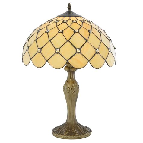 Tiffany Table Lamp With Honey Shade Jewel 16 Inch Antique
