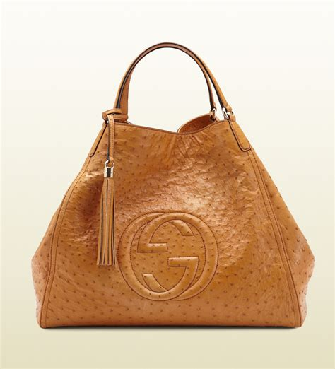 Gucci Soho Bag gucci soho light sunflower ostrich shoulder bag in brown sunflower lyst