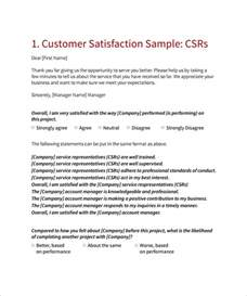 Customer Satisfaction Survey Cover Letter by Sle Customer Satisfaction Survey Template 8 Free
