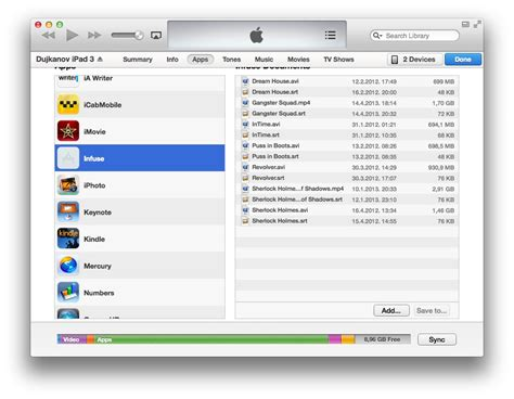 itunes file sharing section infuse a versatile ios media player by firecore review
