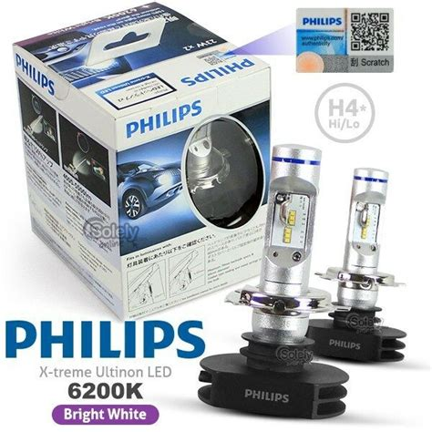 lade h4 genuine pair philips h4 6200k x treme ultinon led high low