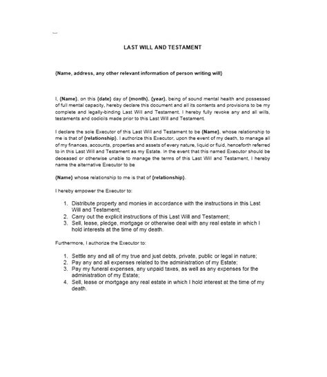template for writing a will 39 last will and testament forms templates template lab