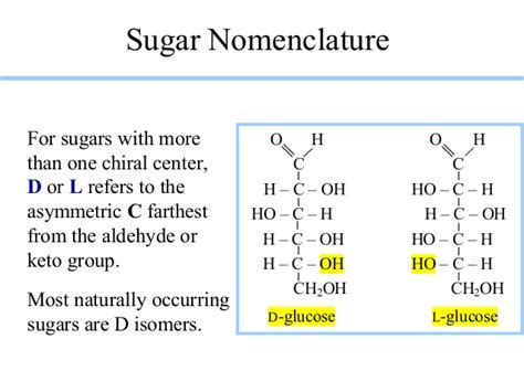 carbohydrates d and l carbohydrate