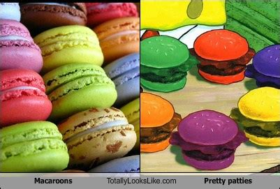 colored krabby patty macaroons totally looks like pretty patties totally